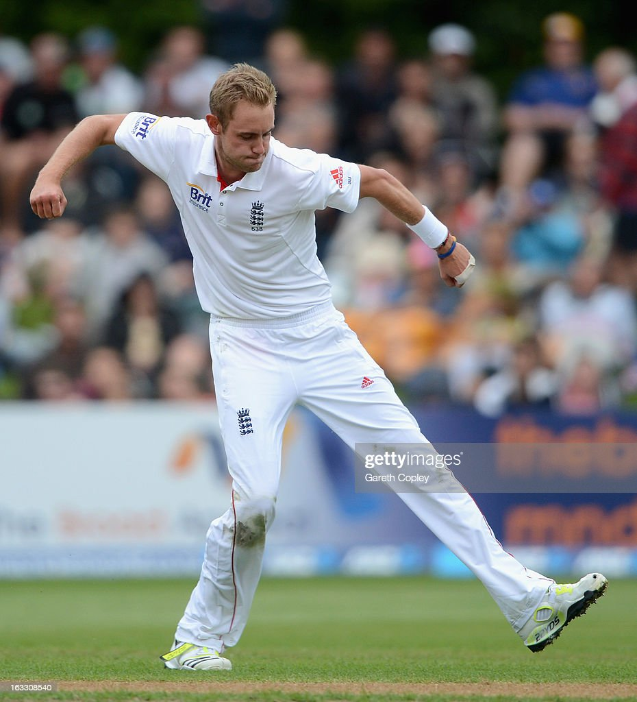 Stuart Broad of England celebrates dismissing BJ Watling of New Zealand during day three of the First Test match between New Zealand and England at University Oval on March 8, 2013 in Dunedin, New Zealand.