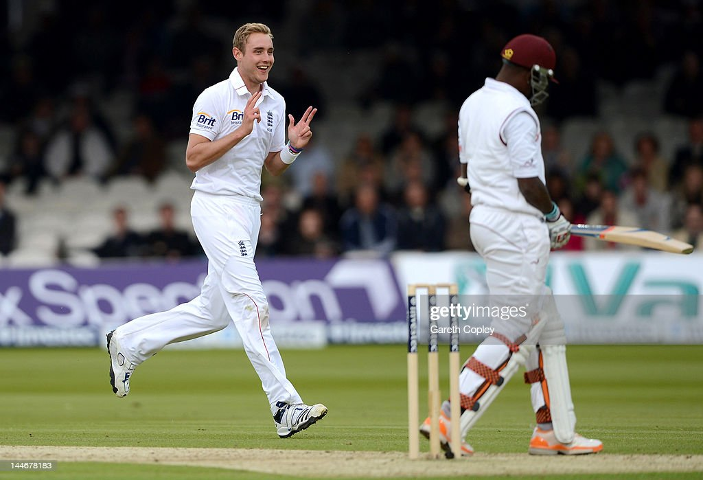 <a gi-track='captionPersonalityLinkClicked' href=/galleries/search?phrase=Stuart+Broad&family=editorial&specificpeople=574360 ng-click='$event.stopPropagation()'>Stuart Broad</a> of England celebrates dismissing <a gi-track='captionPersonalityLinkClicked' href=/galleries/search?phrase=Fidel+Edwards&family=editorial&specificpeople=217762 ng-click='$event.stopPropagation()'>Fidel Edwards</a> of West Indies during day one of the first Test match between England and West Indies at Lord's Cricket Ground on May 17, 2012 in London, England.