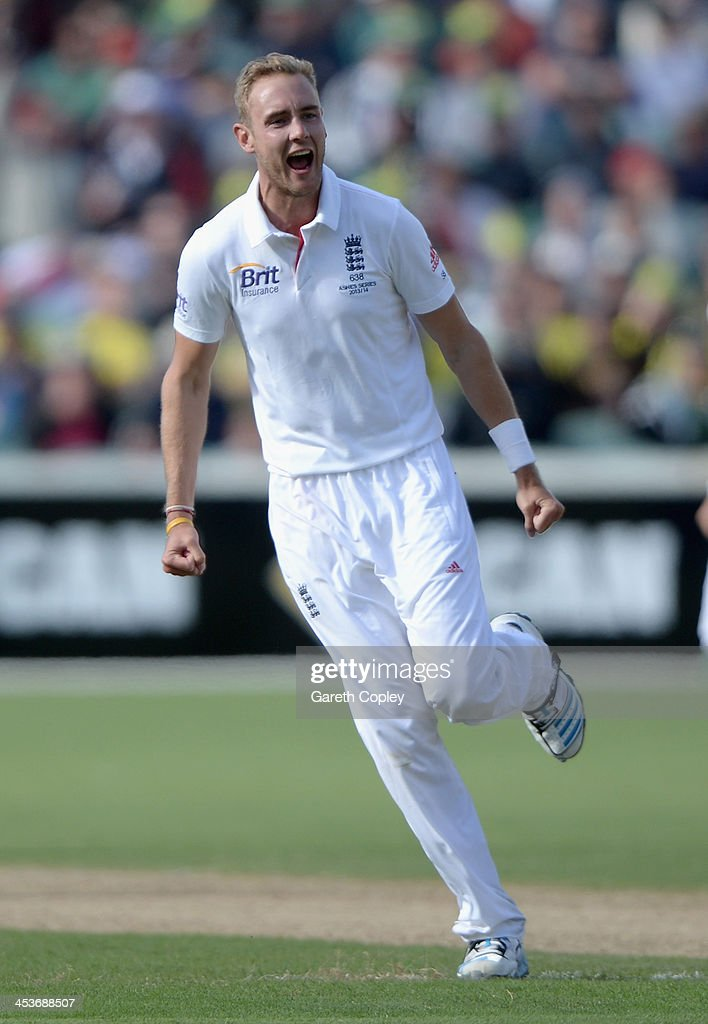 Stuart Broad of England celebrates dismissing George Bailey of Australia during day one of the Second Ashes Test Match between Australia and England at Adelaide Oval on December 5, 2013 in Adelaide, Australia.