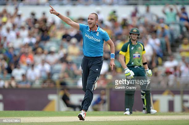 Stuart Broad of England celebrates dismissing George Bailey of Australia during the final match of the Carlton Mid One Day International series...
