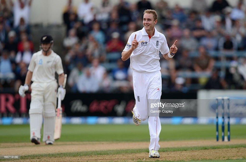 <a gi-track='captionPersonalityLinkClicked' href=/galleries/search?phrase=Stuart+Broad&family=editorial&specificpeople=574360 ng-click='$event.stopPropagation()'>Stuart Broad</a> of England celebrates dismissing Hamish Rutherford of New Zealand during day two of the second Test match between New Zealand and England at Basin Reserve on March 15, 2013 in Wellington, New Zealand.
