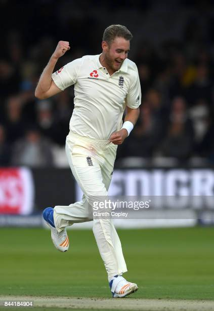 Stuart Broad of England celebrates dismissing Kyle Hope of the West Indies during day two of the 3rd Investec Test match between England and the West...