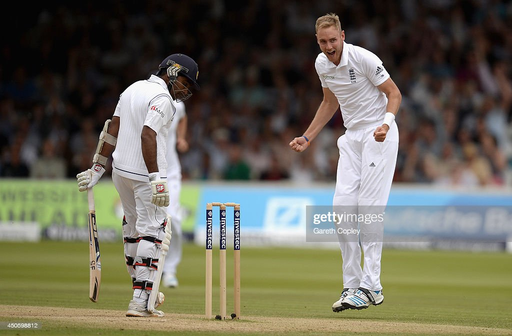 <a gi-track='captionPersonalityLinkClicked' href=/galleries/search?phrase=Stuart+Broad&family=editorial&specificpeople=574360 ng-click='$event.stopPropagation()'>Stuart Broad</a> of England celebrates dismissing Mahela Jayawardena of Sri Lanka during day three of 1st Investec Test match between England and Sri Lanka at Lord's Cricket Ground on June 14, 2014 in London, England.