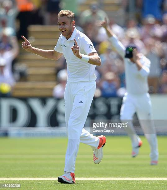 Stuart Broad of England celebrates dismissing Mitchell Johnson of Australia during day three of the 1st Investec Ashes Test match between England and...