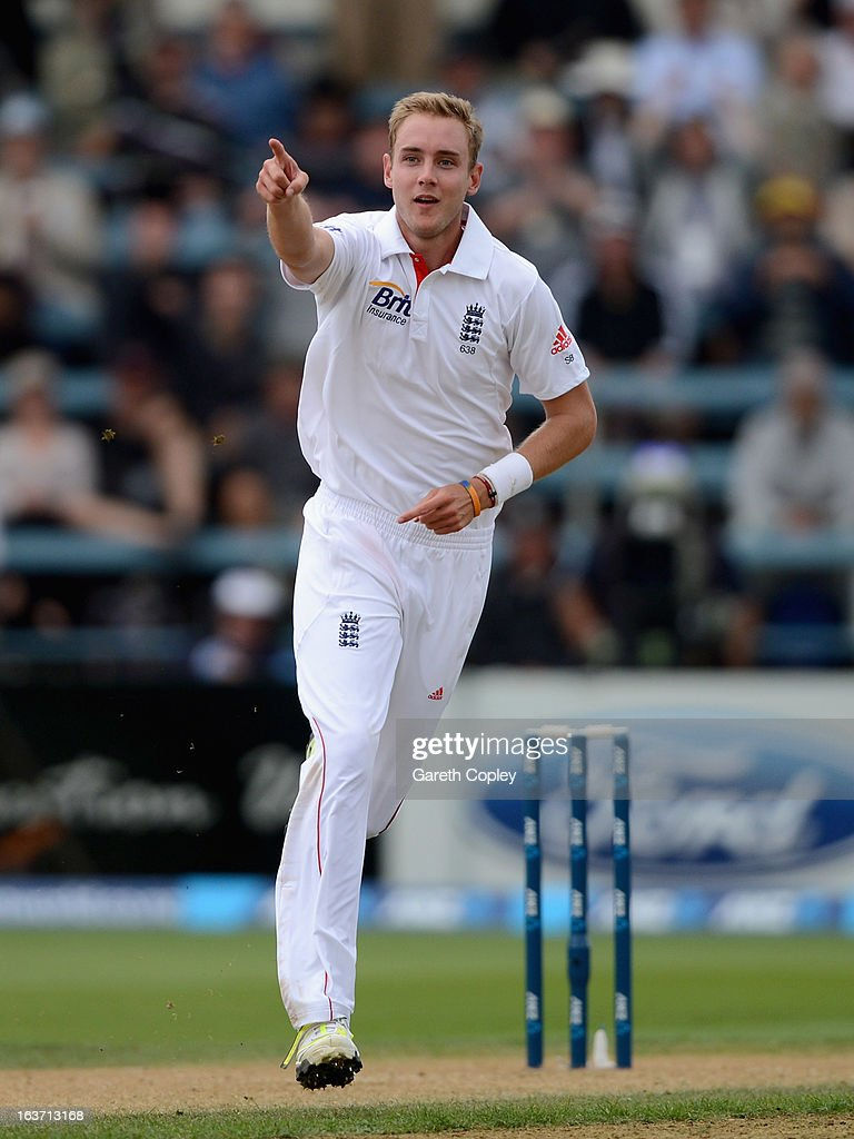 Stuart Broad of England celebrates dismissing Ross Taylor of New Zealand during day two of the second Test match between New Zealand and England at Basin Reserve on March 15, 2013 in Wellington, New Zealand.