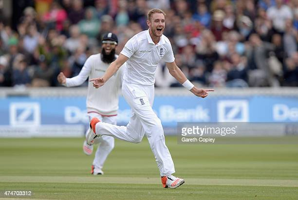 Stuart Broad of England celebrates dismissing Ross Taylor of New Zealand during day five of 1st Investec Test match between England and New Zealand...