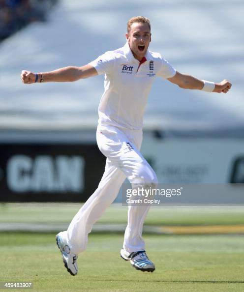 Stuart Broad of England celebrates dismissing Steve Smith of Australia during day two of the Fourth Ashes Test Match between Australia and England at...