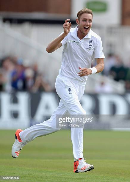 Stuart Broad of England celebrates dismissing Steven Smith of Australia during day two of the 4th Investec Ashes Test match between England and...