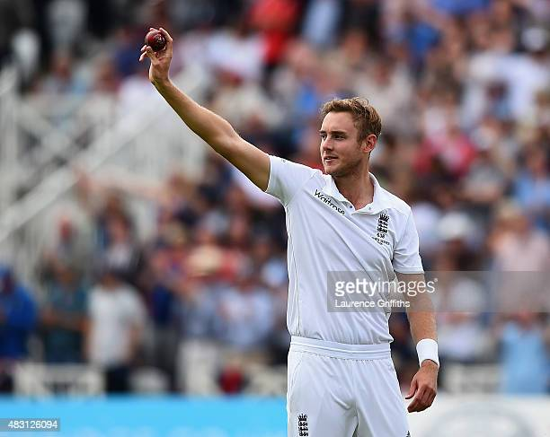 Stuart Broad of England celebrates taking his fifth wicket that of Michael Clarke of Australia during day one of the 4th Investec Ashes Test match...