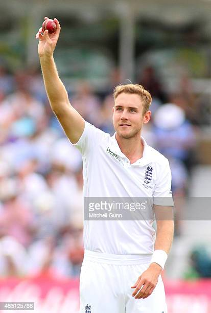 Stuart Broad of England celebrates taking the five wickets during day one of the 4th Investec Ashes Test match between England and Australia at Trent...