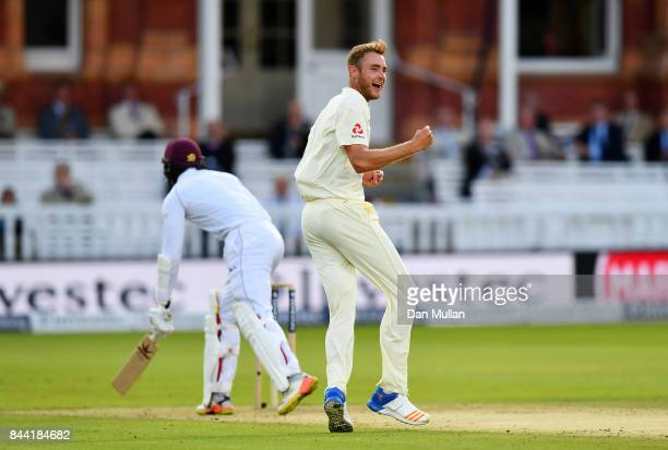 Stuart Broad of England celebrates taking the wicket of Kyle Hope of the West Indies during day two of the 3rd Investec Test Match between England...