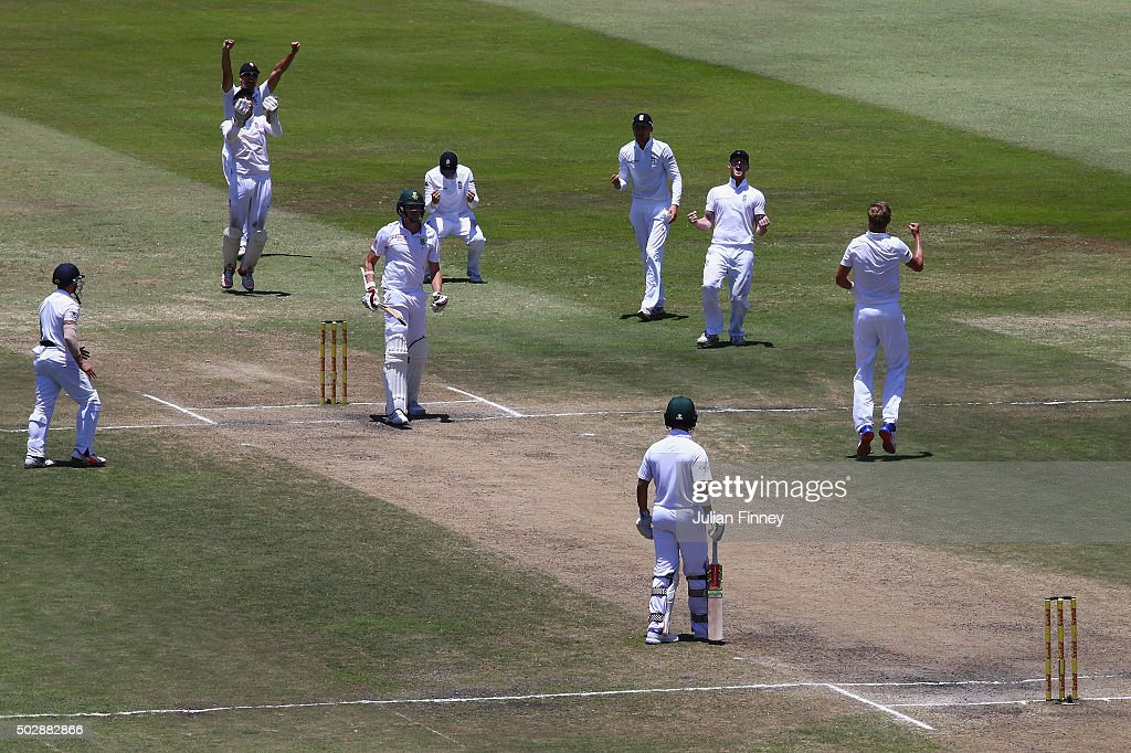 Stuart Broad of England celebrates taking the wicket of Morne Morkel of South Africa lbw to win the match during day five of the 1st Test between South Africa and England at Sahara Stadium Kingsmead on December 30, 2015 in Durban, South Africa.