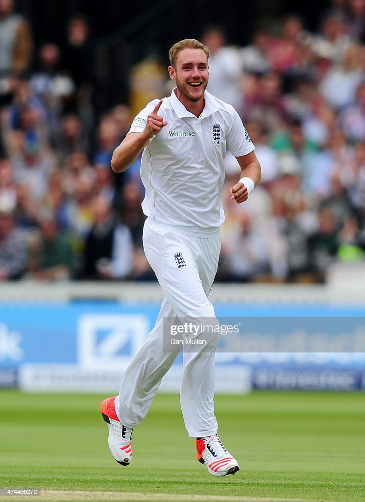 <a gi-track='captionPersonalityLinkClicked' href=/galleries/search?phrase=Stuart+Broad&family=editorial&specificpeople=574360 ng-click='$event.stopPropagation()'>Stuart Broad</a> of England celebrates taking the wicket of Ross Taylor of New Zealand during day three of the 1st Investec Test Match between England and New Zealand at Lord's Cricket Ground on May 23, 2015 in London, England.