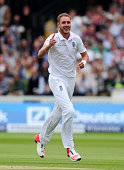 Stuart Broad of England celebrates taking the wicket of Ross Taylor of New Zealand during day three of the 1st Investec Test Match between England...