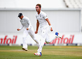 Stuart Broad of England celebrates taking the wicket of Stiaan Van Zyl of South Africa during day three of the 3rd Test at Wanderers Stadium on...