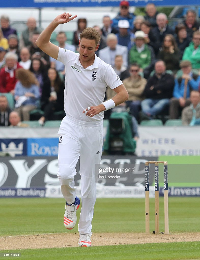 Stuart Broad of England celebrates taking the wicket of Suranga Lakmal during day three of the 2nd Investec Test match between England and Sri Lanka at Emirates Durham ICG on May 29, 2016 in Chester-le-Street, United Kingdom.