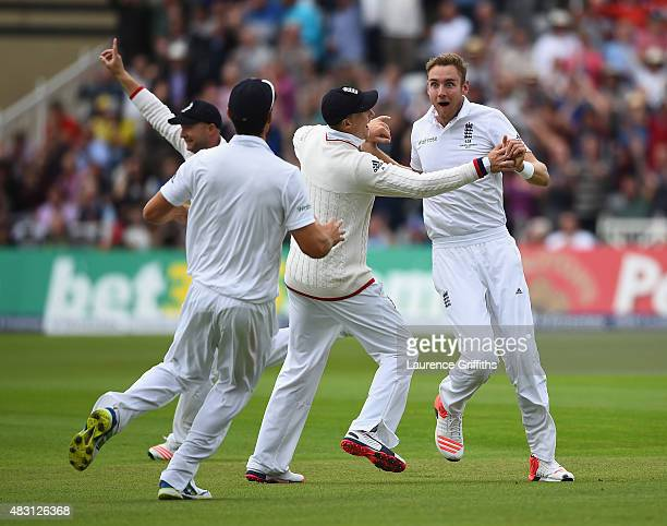 Stuart Broad of England celebrates the wicket of Adam Voges of Australia during day one of the 4th Investec Ashes Test match between England and...
