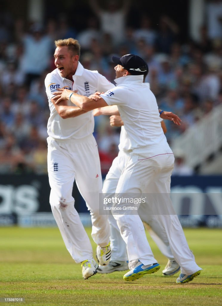 <a gi-track='captionPersonalityLinkClicked' href=/galleries/search?phrase=Stuart+Broad&family=editorial&specificpeople=574360 ng-click='$event.stopPropagation()'>Stuart Broad</a> of England celebrates the wicket of Michael Clarke of Australia during day four of the 1st Investec Ashes Test match between England and Australia at Trent Bridge Cricket Ground on July 13, 2013 in Nottingham, England.