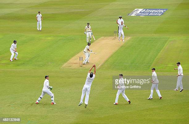 Stuart Broad of England celebrates the wicket of Michael Clarke of Australia caught by Alastair Cook for 10 runsduring day one of the 4th Investec...