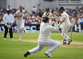 Stuart Broad of England celebrates the wicket of Shaun Marsh of Australia during day one of the 4th Investec Ashes Test match between England and...
