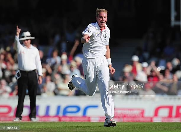 Stuart Broad of England celebrates the wicket of VVS Laxman of India during day three of the 4th npower Test Match between England and India at The...