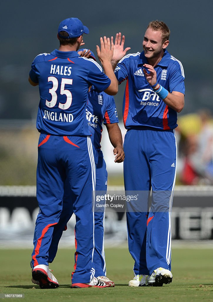 Stuart Broad of England celebrates with Alex Hales after dismissing Ian Butler of a New Zealand XI during a T20 Practice Match between New Zealand XI and England at Cobham Oval on February 5, 2013 in Whangarei, New Zealand.