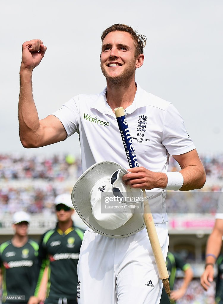 <a gi-track='captionPersonalityLinkClicked' href=/galleries/search?phrase=Stuart+Broad&family=editorial&specificpeople=574360 ng-click='$event.stopPropagation()'>Stuart Broad</a> of England clebrates winning the Ashes during day three of the 4th Investec Ashes Test match between England and Australia at Trent Bridge on August 8, 2015 in Nottingham, United Kingdom.