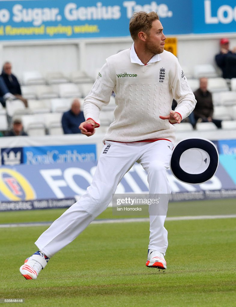 Stuart Broad of England during day four of the 2nd Investec Test match between England and Sri Lanka at Emirates Durham ICG on May 30, 2016 in Chester-le-Street, United Kingdom.