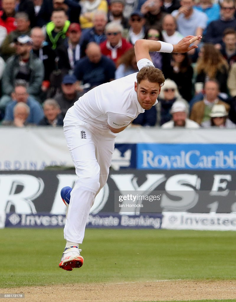Stuart Broad of England during day three of the 2nd Investec Test match between England and Sri Lanka at Emirates Durham ICG on May 29, 2016 in Chester-le-Street, United Kingdom.