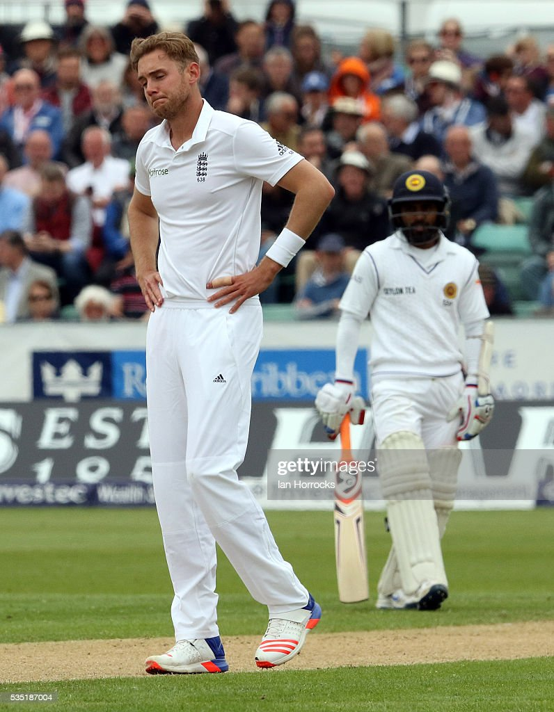 <a gi-track='captionPersonalityLinkClicked' href=/galleries/search?phrase=Stuart+Broad&family=editorial&specificpeople=574360 ng-click='$event.stopPropagation()'>Stuart Broad</a> of England during day three of the 2nd Investec Test match between England and Sri Lanka at Emirates Durham ICG on May 29, 2016 in Chester-le-Street, United Kingdom.