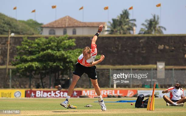 Stuart Broad of England has a bowl on the outfield during the England nets session at the Galle International Stadium on March 25 2012 in Galle Sri...