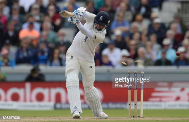 Stuart Broad of England is bowled by Morne Morkel of South Africa on the second day of the 4th Investec Test match between England and South Africa...