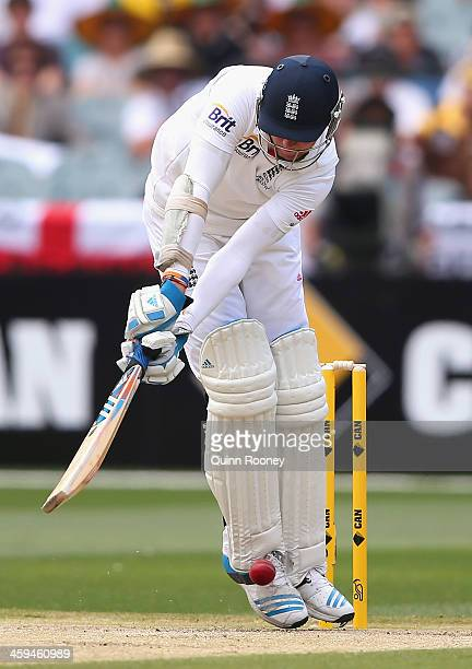Stuart Broad of England is hit on the pad and given lbw of the bowling of Mitchell Johnson of Australia during day two of the Fourth Ashes Test Match...