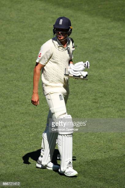 Stuart Broad of England leaves the field after being dismissed by Mitchell Starc of Australia during day five of the Second Test match during the...