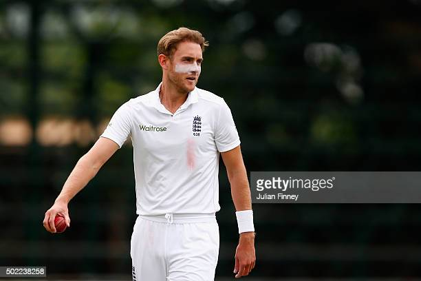 Stuart Broad of England looks on during day three of the tour match between South Africa A and England at City Oval on December 22 2015 in...