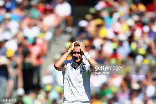 Stuart Broad of England looks on during day two of the Fourth Ashes Test Match between Australia and England at Melbourne Cricket Ground on December...