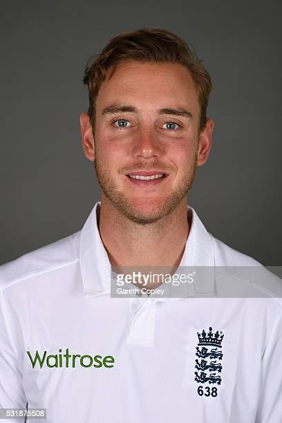 Stuart Broad of England poses for a portrait at Headingley on May 17 2016 in Leeds England