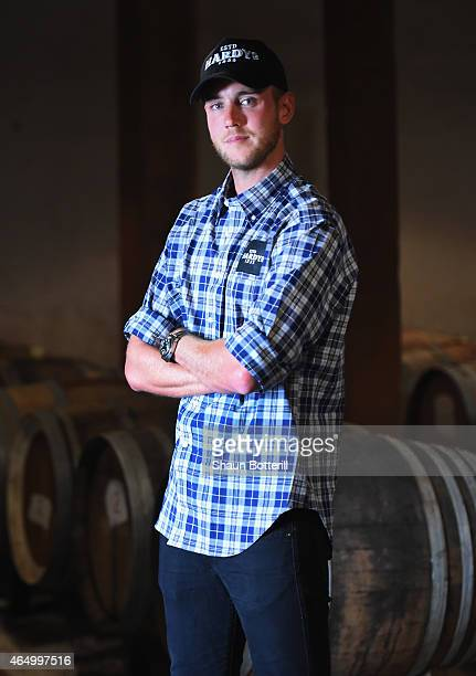 Stuart Broad of England poses for a portrait during a visit to Hardys wine on March 3 2015 in Adelaide Australia