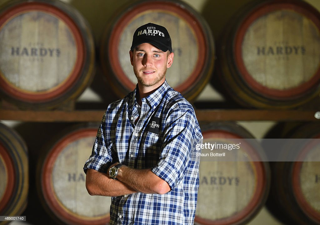 <a gi-track='captionPersonalityLinkClicked' href=/galleries/search?phrase=Stuart+Broad&family=editorial&specificpeople=574360 ng-click='$event.stopPropagation()'>Stuart Broad</a> of England poses for a portrait during a visit to Hardys wine on March 3, 2015 in Adelaide, Australia.