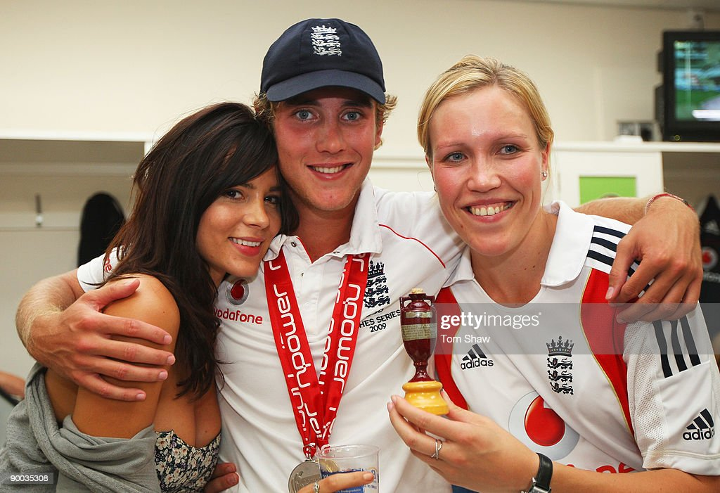 Stuart Broad of England poses with his girlfriend, Kacey Barnfield (L) and sister Gemma in the dressing room after day four of the npower 5th Ashes Test Match between England and Australia at The Brit Oval on August 23, 2009 in London, England.