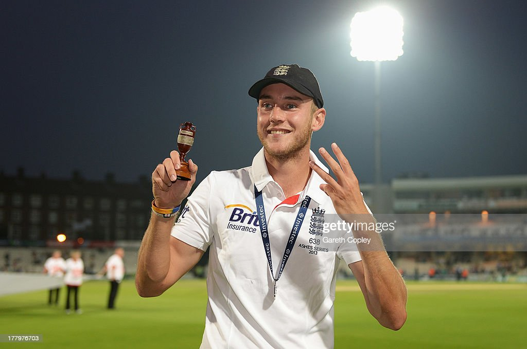 Stuart Broad of England poses with the urn after England won the Ashes during day five of the 5th Investec Ashes Test match between England and...