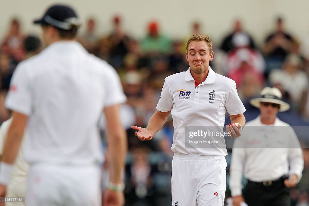 Stuart Broad of England reacts after taking the wicket, caught and bowled, of Kane Williamson of New Zealand during day three of the second Test match between New Zealand and England at Basin Reserve on March 16, 2013 in Wellington, New Zealand.