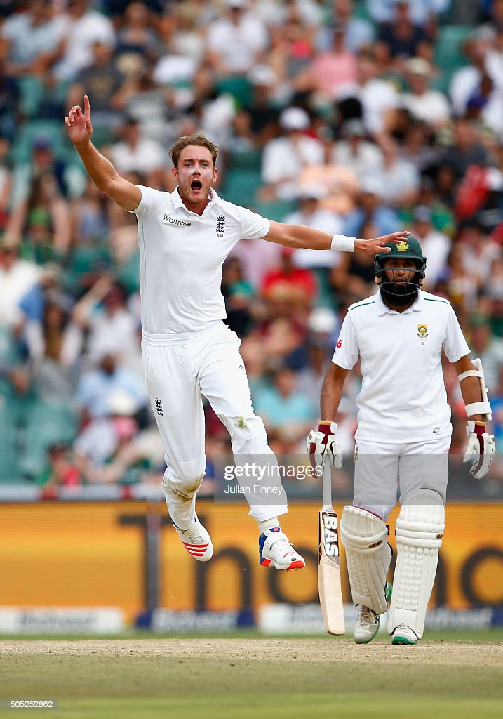 Stuart Broad of England reacts as James Anderson of England nearly catches out Stiaan Van Zyl of South Africa during day three of the 3rd Test at Wanderers Stadium on January 16, 2016 in Johannesburg, South Africa.