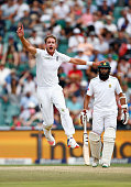 Stuart Broad of England reacts as James Anderson of England nearly catches out Stiaan Van Zyl of South Africa during day three of the 3rd Test at...