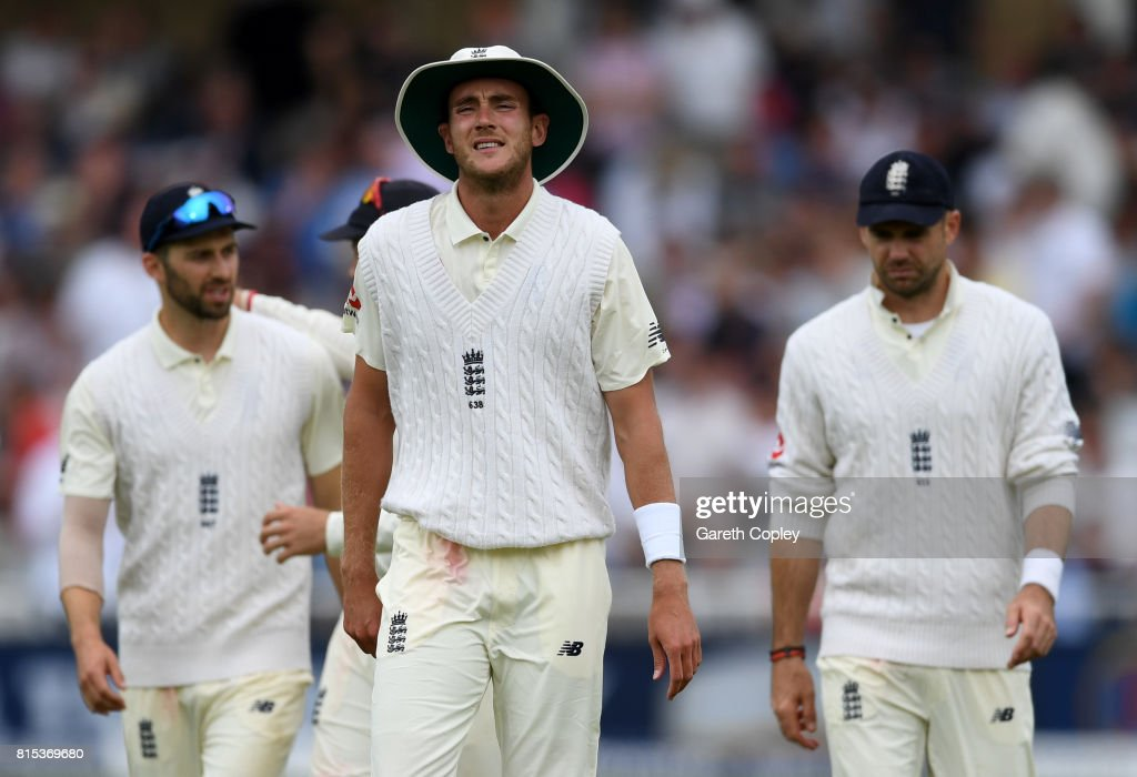 Stuart Broad of England reacts during day three of the 2nd Investec Test match between England and South Africa at Trent Bridge on July 16, 2017 in Nottingham, England.