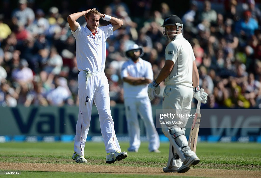 Stuart Broad of England reacts during day two of the First Test match between New Zealand and England at University Oval on March 7, 2013 in Dunedin, New Zealand.