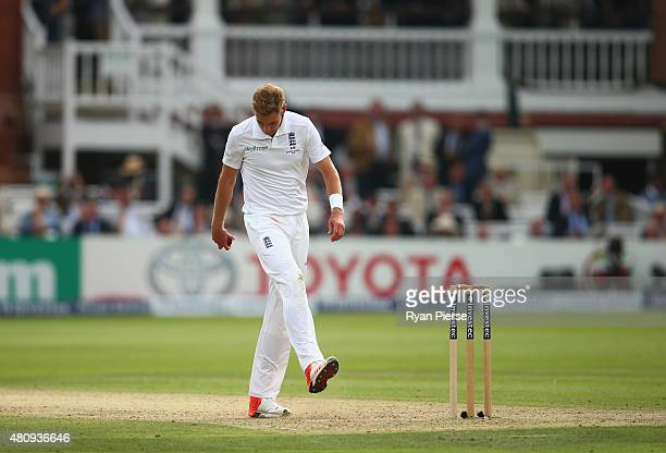 Stuart Broad of England reacts while bowling during day one of the 2nd Investec Ashes Test match between England and Australia at Lord's Cricket...