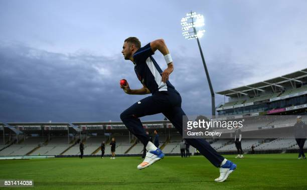 Stuart Broad of England runs into bowl during a nets session at Edgbaston on August 14 2017 in Birmingham England