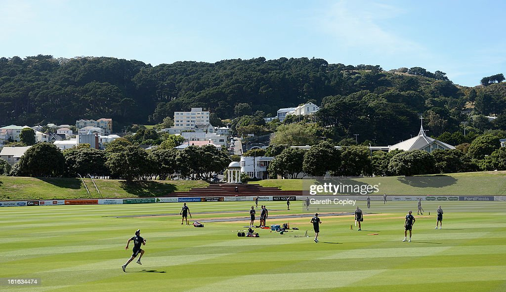 Stuart Broad of England runs to take a catch during a England nets session at Basin Reserve on February 14, 2013 in Wellington, New Zealand.