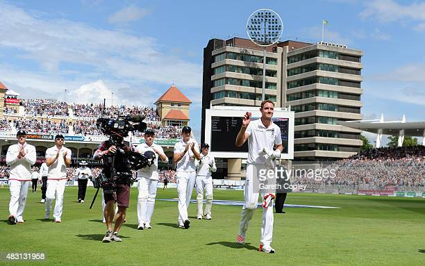 Stuart Broad of England salutes the crowd as he leaves the field after taking 8 wickets during day one of the 4th Investec Ashes Test match between...